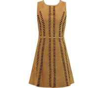 Rigolette Perforated Suede Mini Dress Braun