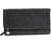 Fiolded suede clutch