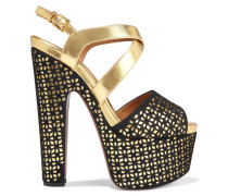 Laser-cut Metallic Leather And Suede Platform Sandals Gold