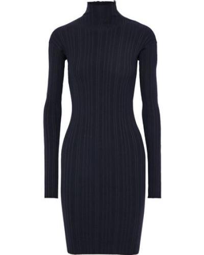 Woman Zip-detailed Ribbed Wool-blend Turtleneck Mini Dress Midnight Blue