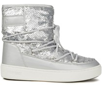 Sequined Woven And Metallic Faux Leather Snow Boots