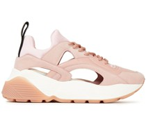 Cutout Neoprene, Faux Leather And Suede Sneakers