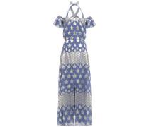 Cold-shoulder Silk-blend Jacquard Maxi Dress