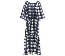 Lilian Velvet-trimmed Checked Cotton And Silk-blend Midi Dress Navy  /M