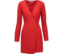 Wrap-effect Crepe Mini Dress Rot