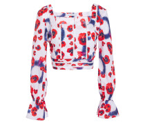 Cropped Floral-print Cotton Top