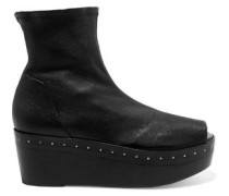 Stretch-leather wedge ankle boots