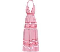 Embellished cotton-jacquard halterneck maxi dress