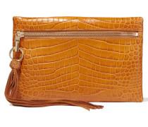 Scott Croc-effect Leather Clutch Braun