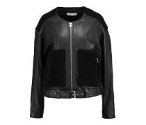 Bouclé-paneled leather jacket