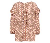 Bedruckte Bluse aus Crêpe mit Rüschenbesatz