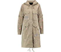 Embroidered Embellished Cotton-gabardine Hooded Coat Champignon