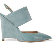 Elvira suede and patent-leather wedge pumps