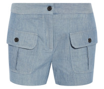 Striped Cotton And Linen-blend Shorts Hellblau