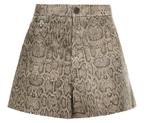 Snake-print Leather Shorts