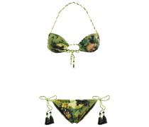 Bedruckter Triangel-bikini mit Troddeln
