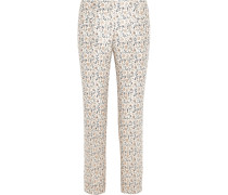 Frances Printed Silk-faille Straight-leg Pants Wollweiß