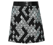 Leather-trimmed Ribbed Woven Skirt Schwarz