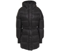 Belted Quilted Shell Hooded Down Coat