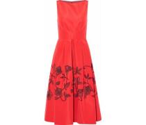 Sequin-embellished pleated silk-satin midi dress