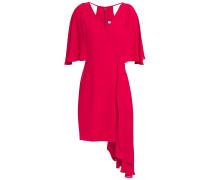 Woman Draped Cutout Crepe Mini Dress Crimson