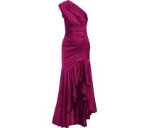 Hedda Geraffte Robe aus Satin mit Asymmetrischer Schulterpartie