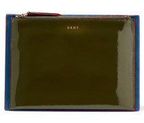 Paneled Glossed And Smooth Leather Clutch Grün
