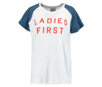 Ladies First Printed Linen And Cotton-blend Jersey T-shirt Weiß