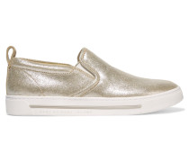 Metallic Leather Slip-on Sneakers Gold