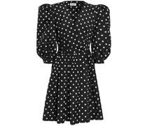 Gerafftes Mini-wickelkleid aus Taft mit Polka-dots