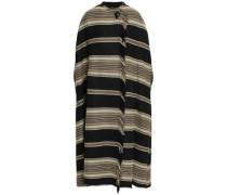 Wild West Frayed Striped Wool-blend Coat Black Size 0