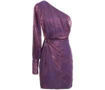 Twist-front Metallic Leopard-jacquard Mini Dress