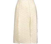 Pleated Cotton-blend Tweed And Silk-georgette Skirt Wollweiß