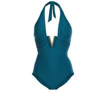 Ruched Embellished Ribbed Halterneck Swimsuit
