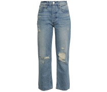 Higher Ground Cropped Distressed High-rise Straight-leg Jeans
