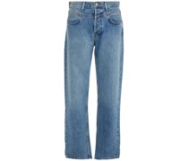 Double-yoke Faded High-rise Straight-leg Jeans
