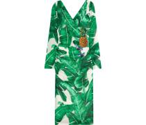 Embellished Printed Silk-blend Dress Grün