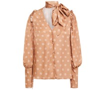 Clara Pussy-bow Polka-dot Hammered-satin Blouse