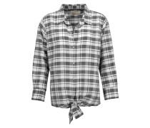 The Western Tie-front Plaid Ramie And Cotton-blend Shirt Mehrfarbig