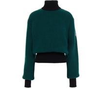 Appliquéd Two-tone Ribbed-knit Turtleneck Sweater