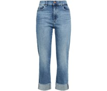 Hoch Sitzende Jeans mit Geradem Bein in ausgewaschener Optik