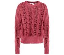 Pullover aus Einer Baumwoll-, Leinen- und Seidenmischung mit Zopfstrickmuster