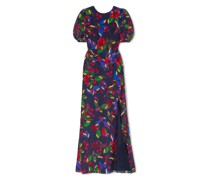 Annie Floral-print Silk-satin Maxi Dress