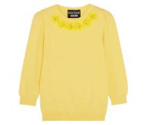 Crystal-embellished appliquéd jersey sweater