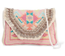 Leone embellished raffia shoulder bag