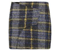 Wrap-effect Checked Bouclé Mini Skirt Mehrfarbig