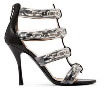 PVC and chain-trimmed patent-leather sandals