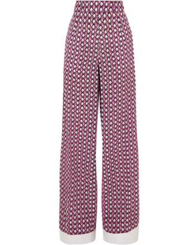 Woman Printed Silk Crepe De Chine Wide-leg Pants Pink
