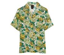 Rosa Mexicana Floral-print Silk-chiffon Shirt Gelb