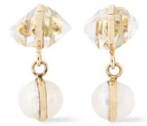 14-karat , Herkimer Diamond And Freshwater Pearl Earrings